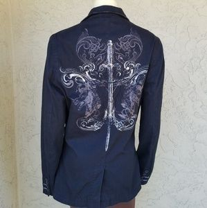 Guess Black Sword Graphic Single Breasted Blazer